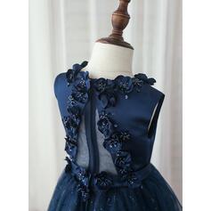 Forme Princesse Longueur mollet Robes à Fleurs pour Filles - Satiné/Tulle Sans manches Col rond avec Brodé/Fleur(s) (010153228)