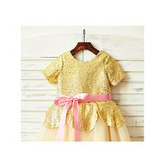 Escote redondo Corte A/Princesa Vestidos para niña de arras Tul/Con lentejuelas Fajas Manga corta Hasta la tibia (010212039)