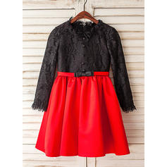 Satin/Tulle A-Line/Princess Bow(s) Modern Flower Girl Dresses (010212075)
