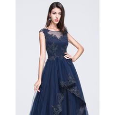 Sin mangas Corte A/Princesa Tul Escote redondo Vestidos de baile de promoción (018210657)