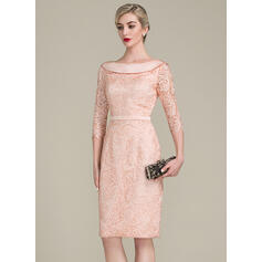 Sheath/Column Off-the-Shoulder Knee-Length Lace Mother of the Bride Dress With Bow(s)