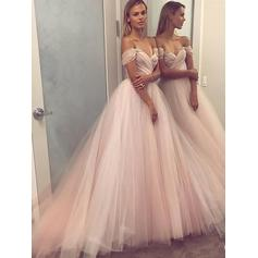 Tulle Elegant Evening Dresses With Off-the-Shoulder