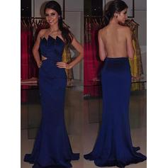Trumpet/Mermaid Strapless Sweep Train Evening Dresses With Beading