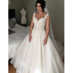 Cap Straps Court Train Ball-Gown Tulle Princess Wedding Dresses