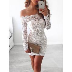 Long Sleeves Sheath/Column Off-the-Shoulder With Lace Cocktail Dresses