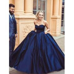 Satin Sleeveless Ball-Gown Prom Dresses Sweetheart Ruffle Floor-Length