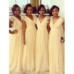 A-Line/Princess Chiffon Bridesmaid Dresses Cascading Ruffles V-neck Short Sleeves Floor-Length (007144990)
