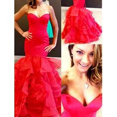 Organza Sleeveless Trumpet/Mermaid Prom Dresses Sweetheart Cascading Ruffles Floor-Length