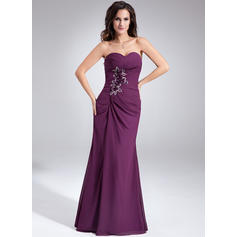 Sheath/Column Sweetheart Chiffon Sleeveless Floor-Length Ruffle Beading Flower(s) Evening Dresses