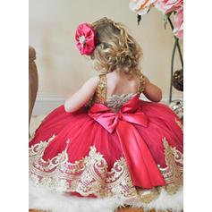 Escote redondo Corte A/Princesa Vestidos para niña de arras Tul/Con lentejuelas Fajas Sin mangas Hasta la rodilla (010216402)