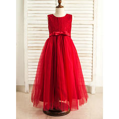 Modern Floor-length A-Line/Princess Flower Girl Dresses Scoop Neck Satin/Tulle Sleeveless