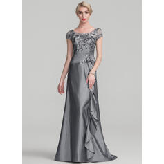 A-Line/Princess Scoop Neck Sweep Train Taffeta Sequined Mother of the Bride Dress With Beading Flower(s) Sequins Cascading Ruffles