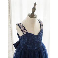 Forme Princesse Longueur ras du sol Robes à Fleurs pour Filles - Tulle/Dentelle Sans manches Bretelles avec Strass (010164748)