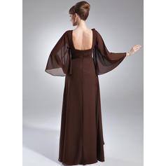 Glamuroso Escote redondo Corte imperial Gasa Vestidos de madrina (008211219)