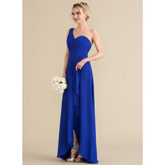 A-Line One-Shoulder Asymmetrical Chiffon Bridesmaid Dress (007144731)