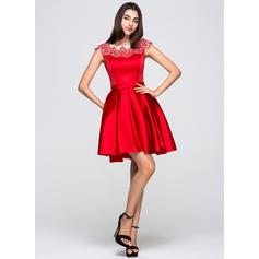 Col rond Sans manches Satiné Moderne Robes de soirée étudiante (022214041)