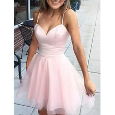 Magnificent Tulle Homecoming Dresses A-Line/Princess Short/Mini V-neck Sleeveless