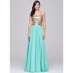 Gasa Con lentejuelas Sin tirantes Novio Corte A/Princesa Vestidos de baile de promoción (018064191)