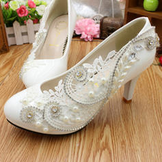Women's Closed Toe Stiletto Heel Lace Leatherette With Rhinestone Applique Wedding Shoes