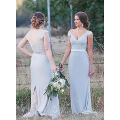 Trumpet/Mermaid Chiffon Lace Bridesmaid Dresses V-neck Sleeveless Sweep Train