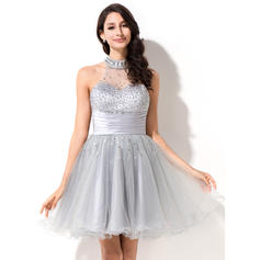 A-Line/Princess Scoop Neck Tulle Sleeveless Short/Mini Beading Sequins Homecoming Dresses