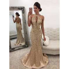 Trumpet/Mermaid Scoop Neck Satin Sleeveless Sweep Train Beading Sequins Evening Dresses