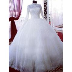 Chapel Train Long Sleeves Ball-Gown - Tulle Wedding Dresses