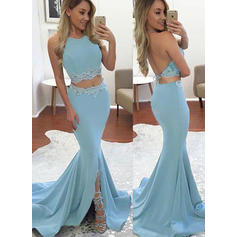 Magnificent Jersey Trumpet/Mermaid Halter Prom Dresses (018146549)