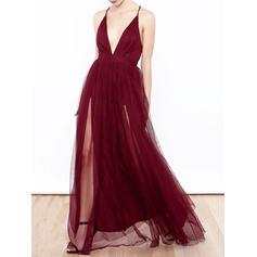 Fashion Tulle Evening Dresses A-Line/Princess Floor-Length V-neck Sleeveless