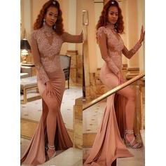 High Neck Appliques Split Front Stretch Crepe Glamorous Evening Dresses (017217883)