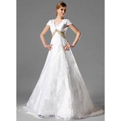 A-Line/Princess Square Chapel Train Wedding Dresses With Sash Crystal Brooch Bow(s) (002000125)