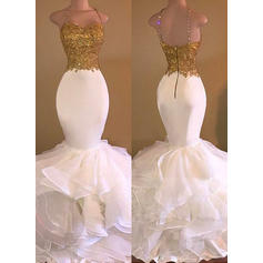 Organza Sleeveless Trumpet/Mermaid Prom Dresses V-neck Beading Appliques Floor-Length