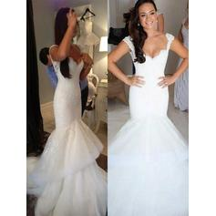 Flattering Chapel Train Trumpet/Mermaid Wedding Dresses V-neck Organza