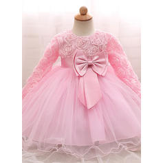 Tulle Scoop Neck Bow(s) Baby Girl's Christening Gowns With Long Sleeves (2001218006)