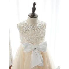 Forme Princesse Longueur genou Robes à Fleurs pour Filles - Tulle/Dentelle Sans manches Col rond avec Brodé/À ruban(s) (010164730)
