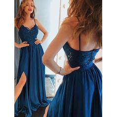 Chiffon Sleeveless A-Line/Princess Prom Dresses V-neck Lace Beading Split Front Sweep Train