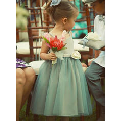 A-Line/Princess Square Neckline Tea-length With Flower(s) Satin/Tulle Flower Girl Dresses