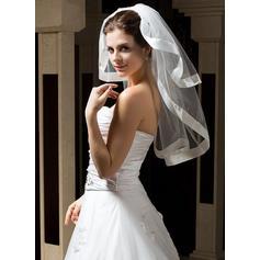 Voile de mariée longueur coude Tulle 2 couches Style Classique avec Bord en ruban Voiles de mariage