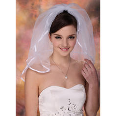 Shoulder Veils Tulle Two-tier Classic With Ribbon Edge Wedding Veils