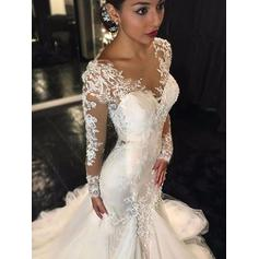 V-neck Trumpet/Mermaid Wedding Dresses Tulle Long Sleeves Chapel Train (002144830)