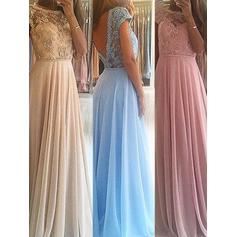 Chiffon Sleeveless A-Line/Princess Prom Dresses Scoop Neck Beading Floor-Length
