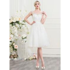 Corte A Ilusão Coquetel Tule Vestido de noiva (002107546)