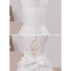 Vestidos princesa/ Formato A Longos Vestidos de Menina das Flores - Cetim/Tule/Renda Sem magas Decote redondo com Curvado/Buraco de volta (010101894)