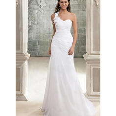 Modern Sweep Train A-Line/Princess Wedding Dresses One Shoulder Chiffon Sleeveless