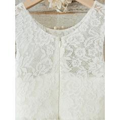 Glamorouso Decote redondo Vestidos princesa/ Formato A Vestidos de daminha Longuete Tecido de seda/Renda Sem magas (010146858)