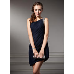 Sheath/Column One-Shoulder Asymmetrical Chiffon Cocktail Dresses With Ruffle Beading (016021178)