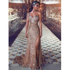 Sequined Sleeveless Sheath/Column Prom Dresses One-Shoulder Ruffle Beading Sweep Train