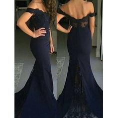 Satin Sleeveless Trumpet/Mermaid Prom Dresses Off-the-Shoulder Sweep Train
