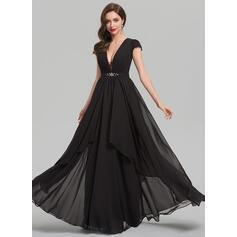 Vestidos princesa/ Formato A Decote V Longos Tecido de seda Vestido de festa com Beading lantejoulas