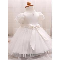 Tulle Col rond Fleur(s) Robes de baptême bébé fille avec Manches courtes (2001218004)